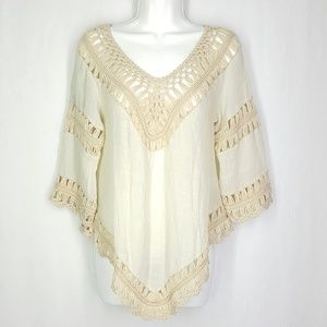 Ya Los Angeles blouse, size Large, knitted lace.